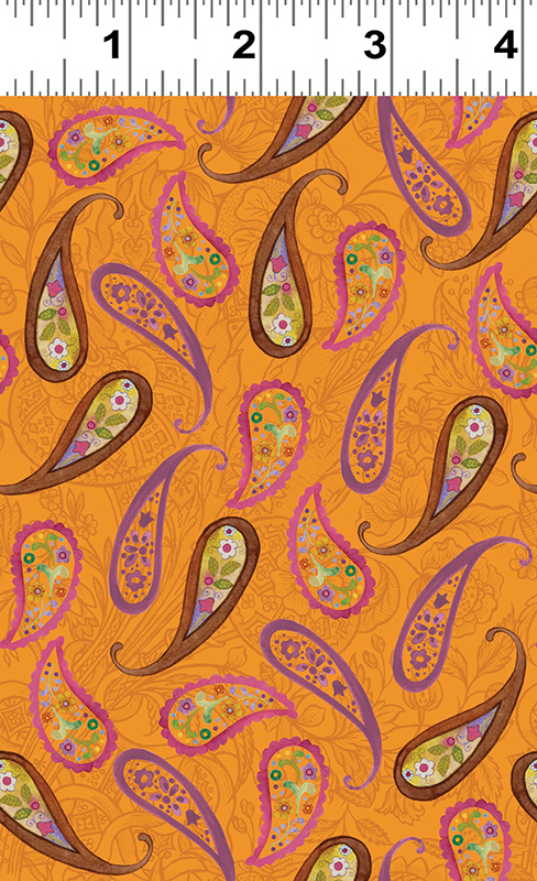 Clothworks Spice Garden Y2045-36 Orange With Brown & Pink Paisley By Sue Zipkin