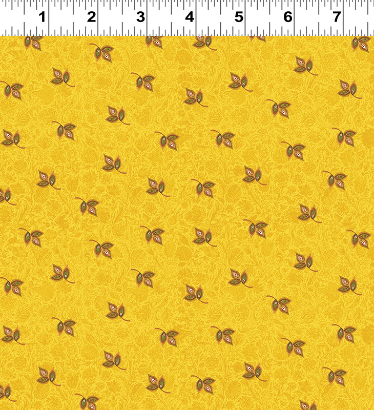 Clothworks Spice Garden Y2046-68 Gold  With Tiny Leaves By Sue Zipkin
