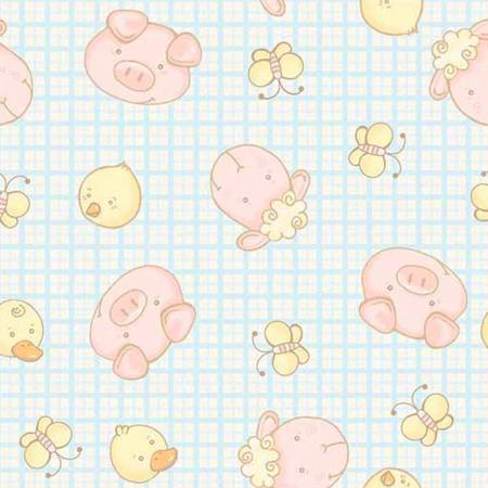 Fabri-Quilt Baby Farm Friends 100-2681 Pig Sheep Chick Butterfly and Blue Gingham