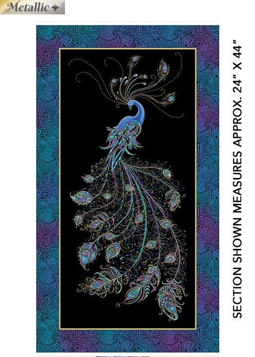 Benartex Peacock Flourish Panel by Ann Lauer 10224M-12 Peacock on Black 24x42