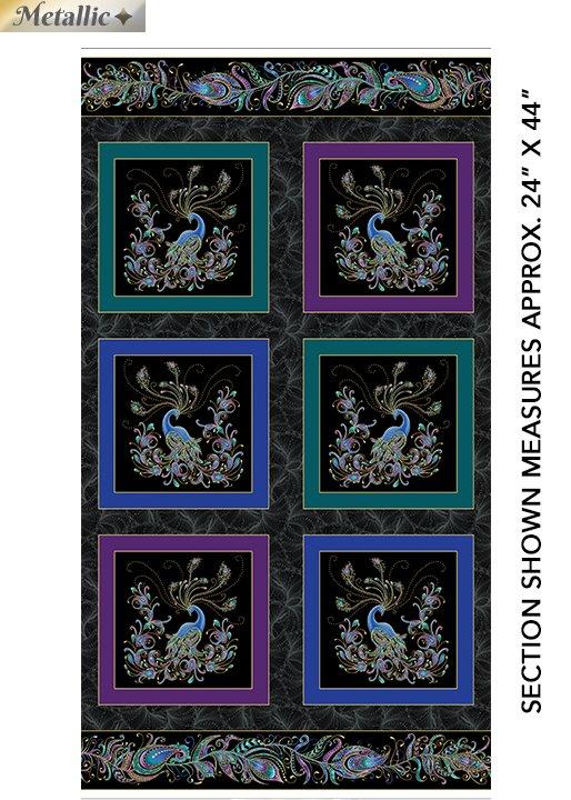 Benartex Peacock Flourish Panel by Ann Lauer 10225M-12 10 Peacock Squares on Black 24x42
