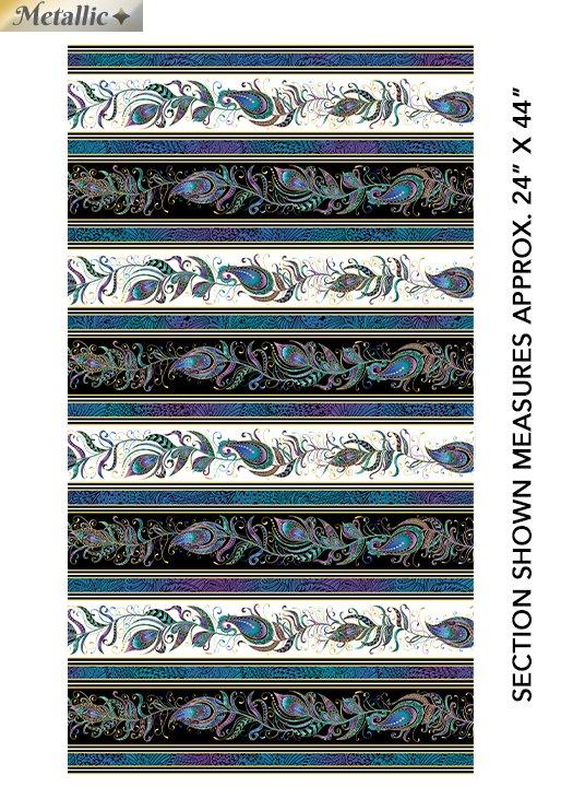 Benartex Peacock Flourish by Ann Lauer 10226M-90 Black/White Stripe