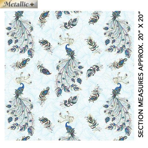 Benartex Peacock Flourish by Ann Lauer 10227M-80 Light Teal Multi
