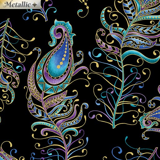 Benartex Peacock Flourish by Ann Lauer 10229M-12 Floating Feather Large Black/Multi