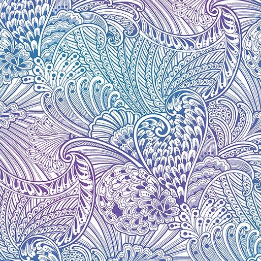 Benartex Peacock Flourish by Ann Lauer 10230-09  White Multi Feather Swirls