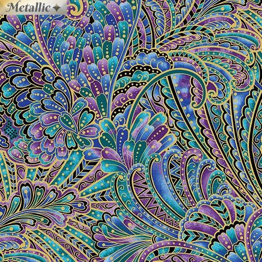 Benartex Peacock Flourish by Ann Lauer 10231M-99 Dark Multi Feather Swirls