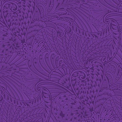 Benartex Peacock Flourish by Ann Lauer 10232-66 Tonal Dark Purple