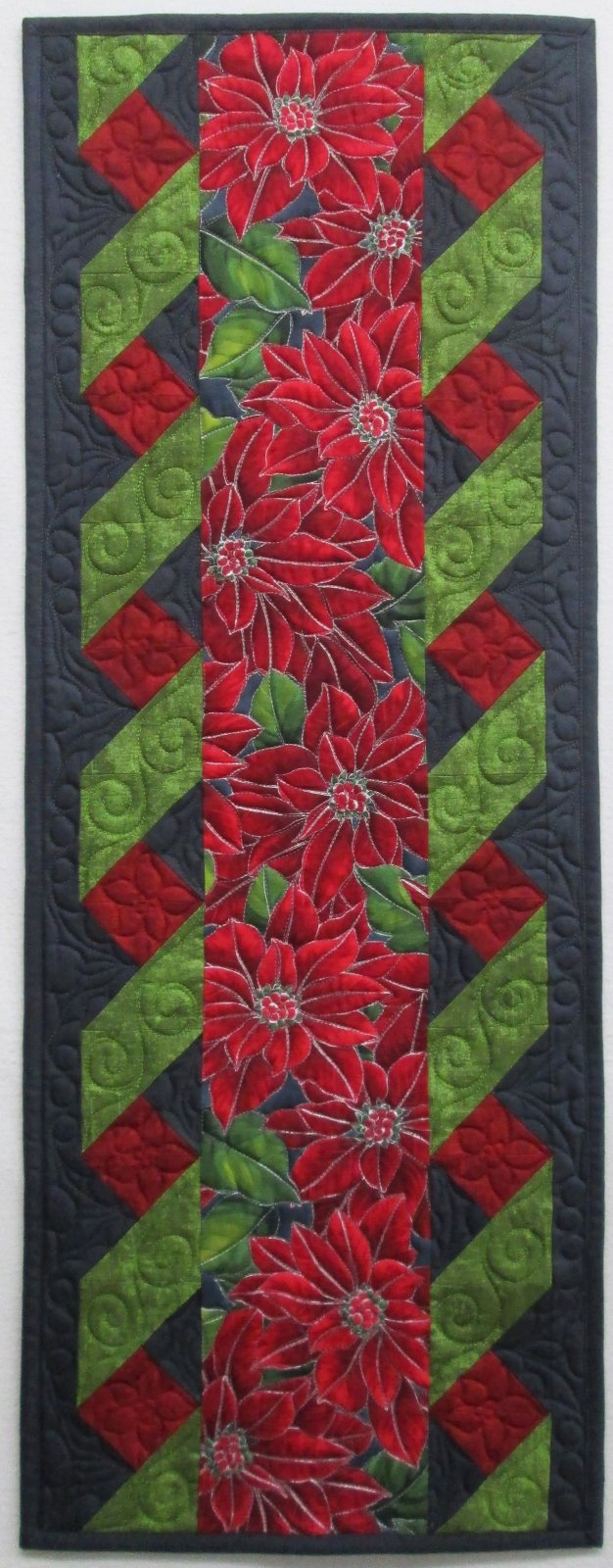Poinsettia Song Twister Table Runner Finished Sample