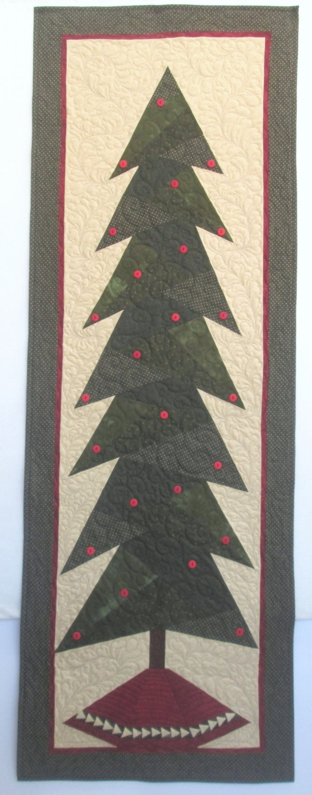Tall Trim the Tree Wall Hanging & 6 Paper pieced ornaments Sample  27 x 77