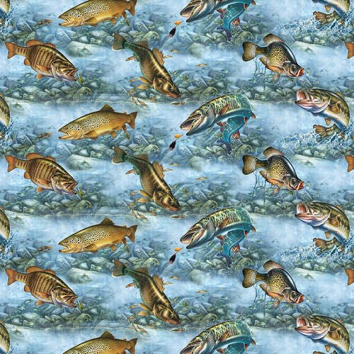 Blank Quilting Keep It Reel 1359-70 Fish on Blue