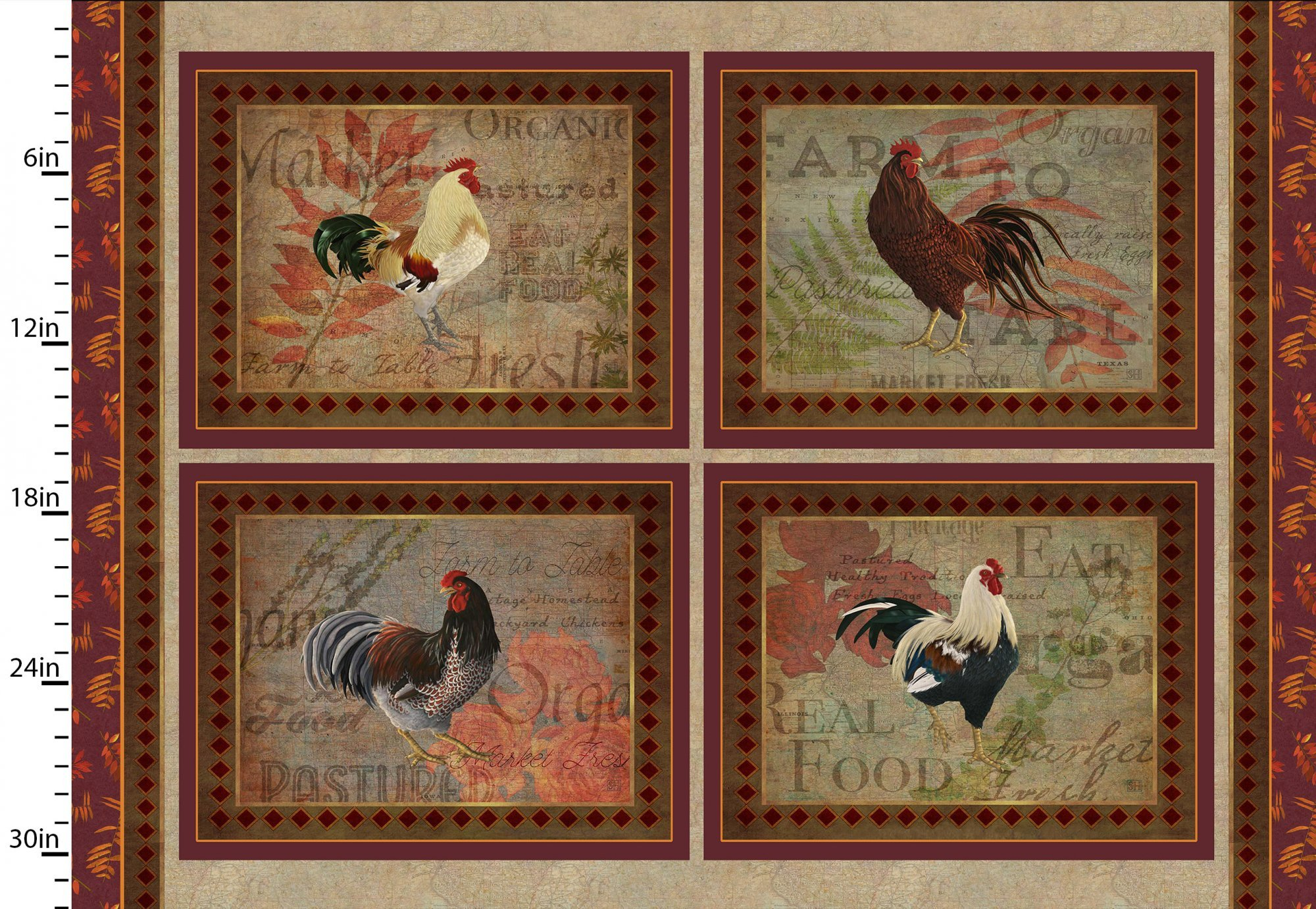 3 Wishes Rustic Roosters Digital 13849-Multi Rooster Placemat Panel