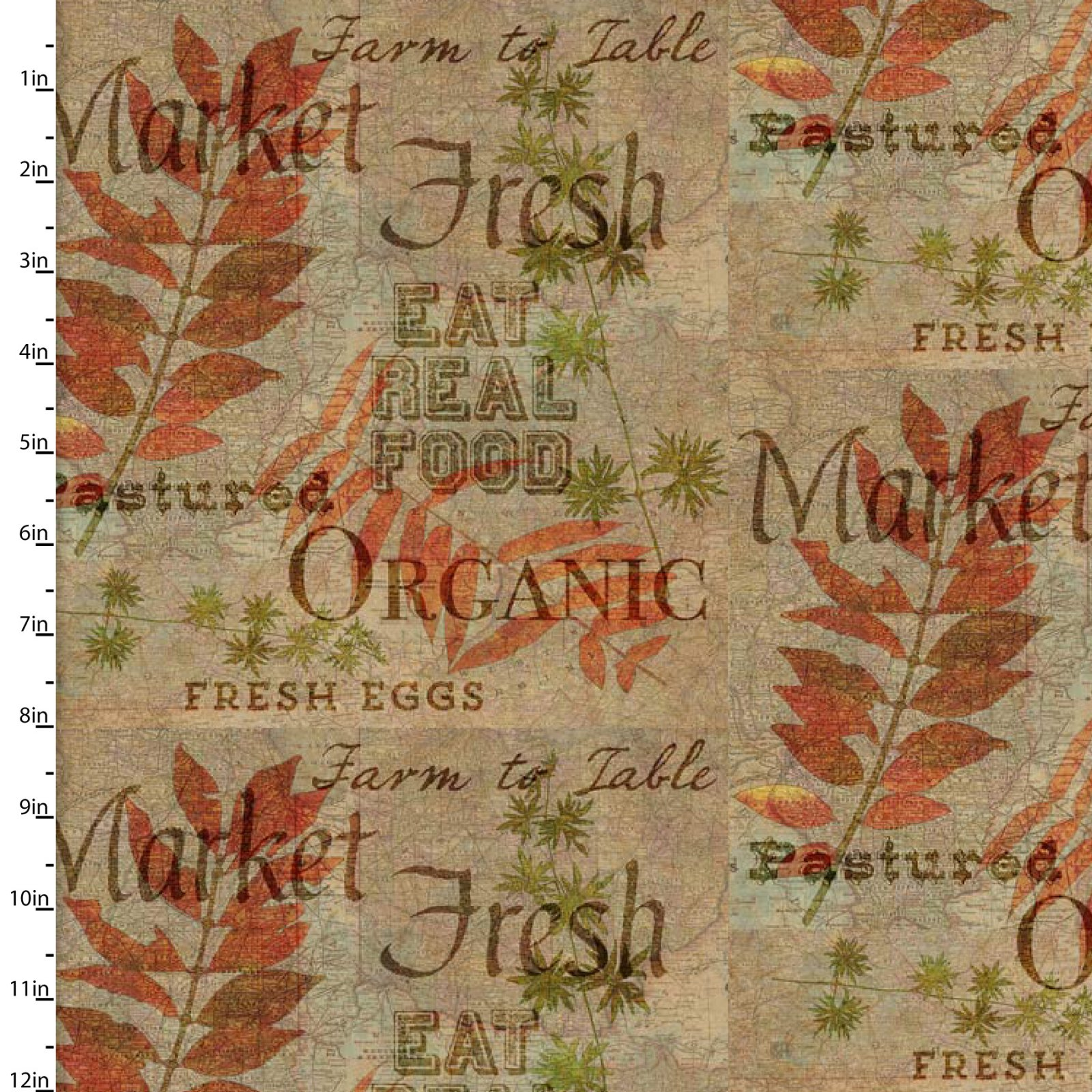 3 Wishes Rustic Roosters Digital 13850-Tan Farm Fresh Words