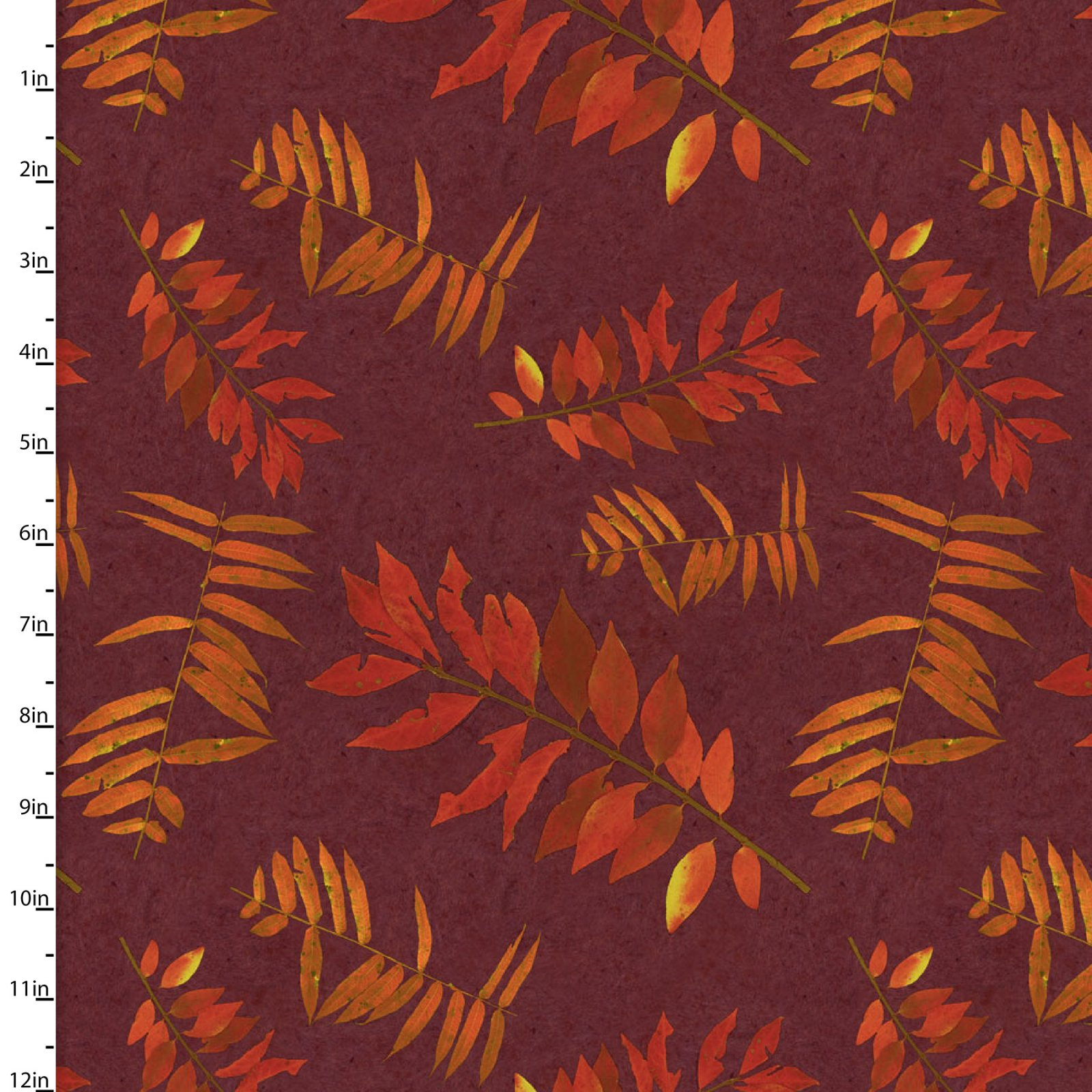3 Wishes Rustic Roosters Digital 13851-Burgundy leaf fronds
