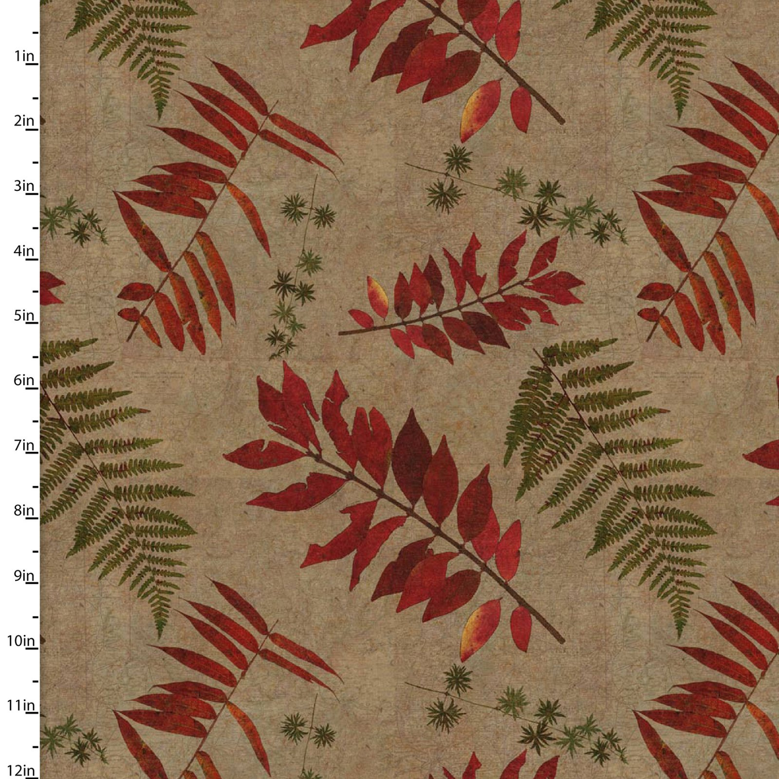3 Wishes Rustic Roosters Digital 13852-Tan palm and leaf fronds
