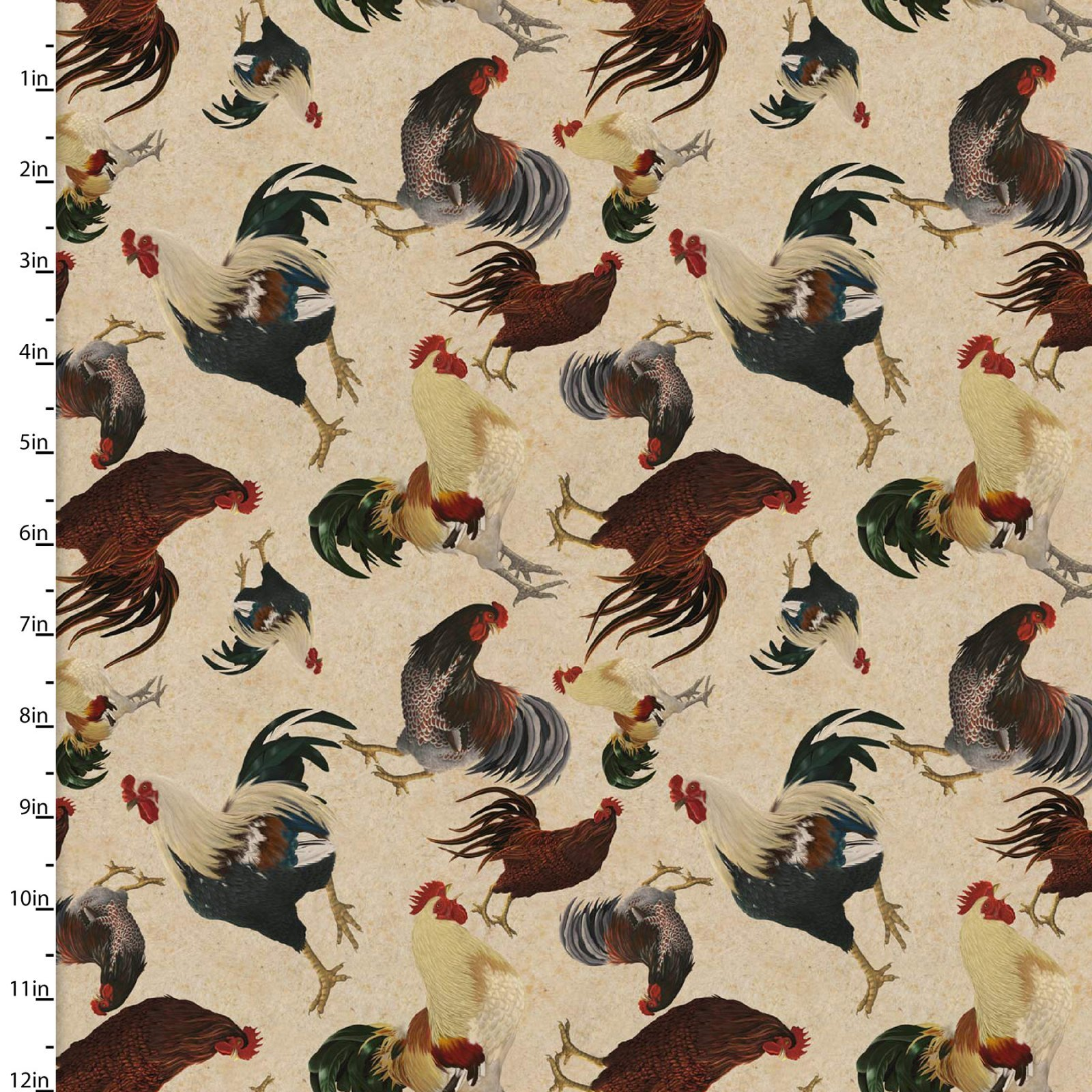 3 Wishes Rustic Roosters Digital 13854-Cream tossed Roosters