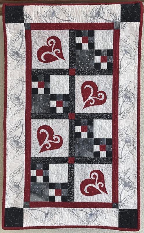Snowy Hearts Table Runner Kit Solstice Island Batik 21.5 x 35.5 Includes binding & pattern