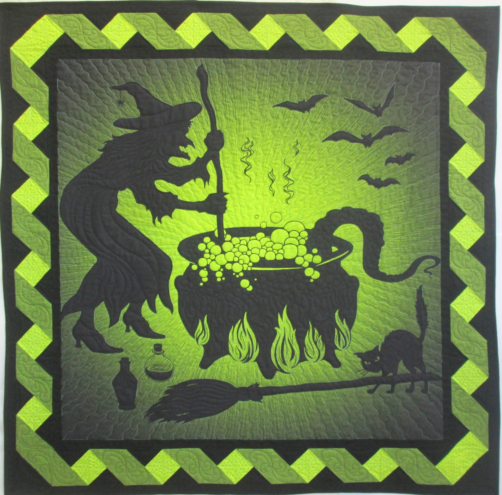 Witch Cauldron Supernova Seasons Twist Wall Hanging Kit 54.5 x 54.5 Finished Sample