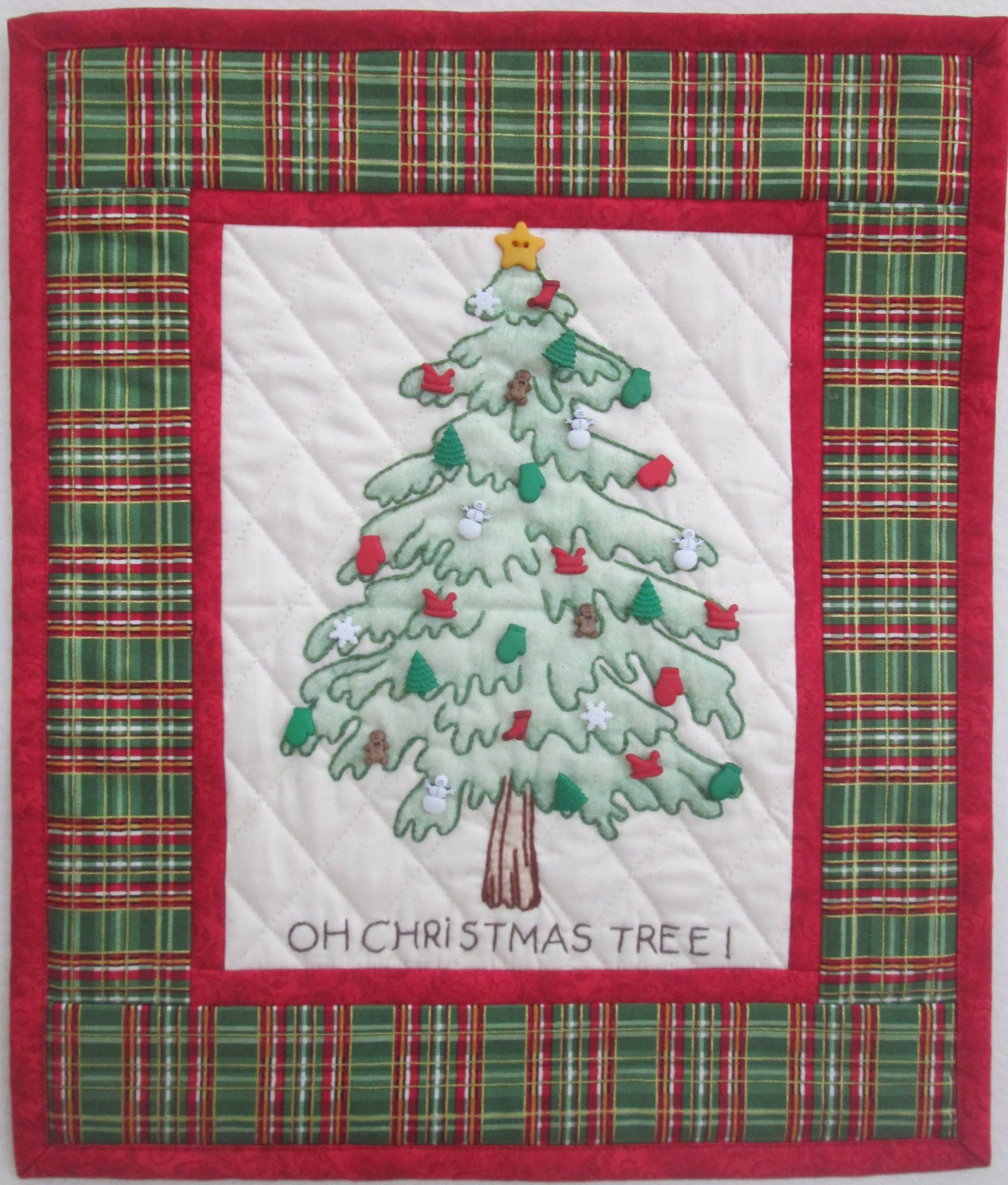 Homespun Christmas Tree Wall Hanging Kit 12.5 x 15.5