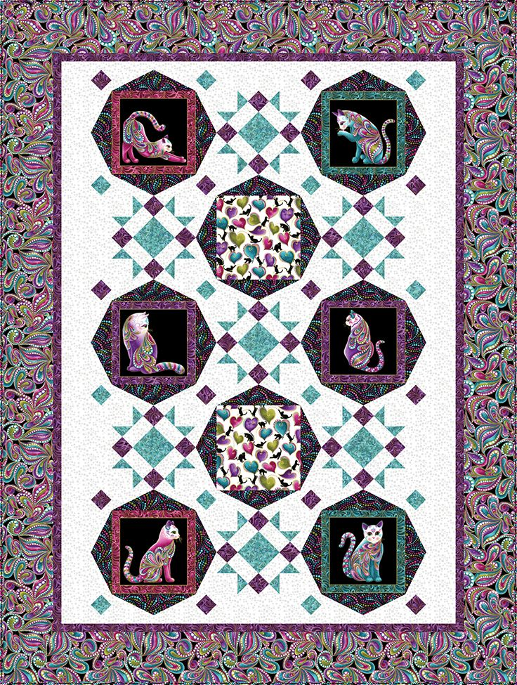 Cat-I-Tude Cool Cats Quilt Kit