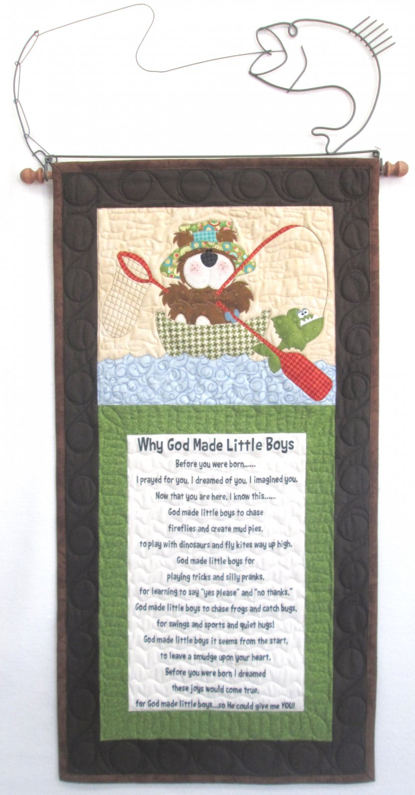 Why God Made Little Boys Fishing Bear Wall Hanging Kit