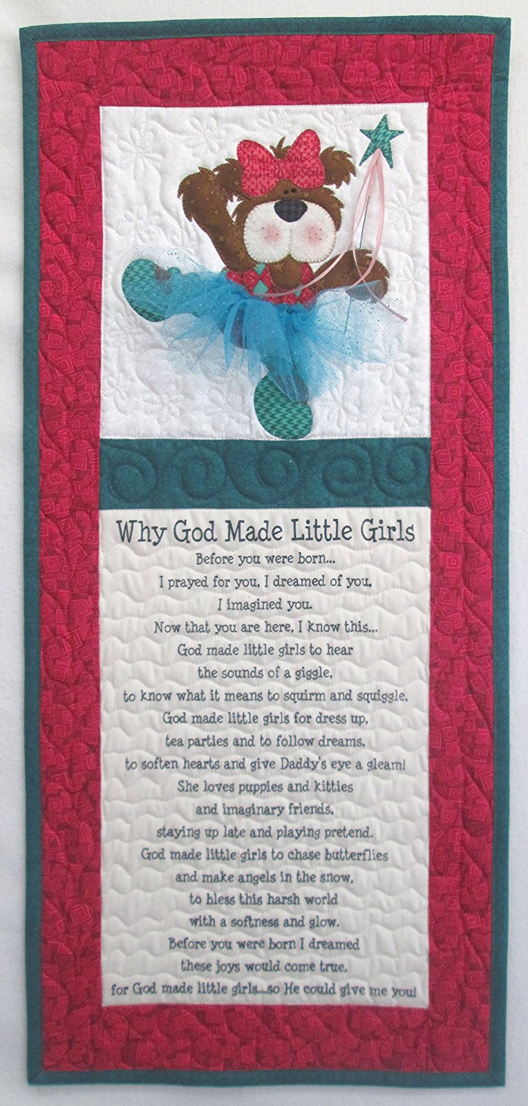 Why God Made Little Girls Ballerina Bear Wall Hanging Kit