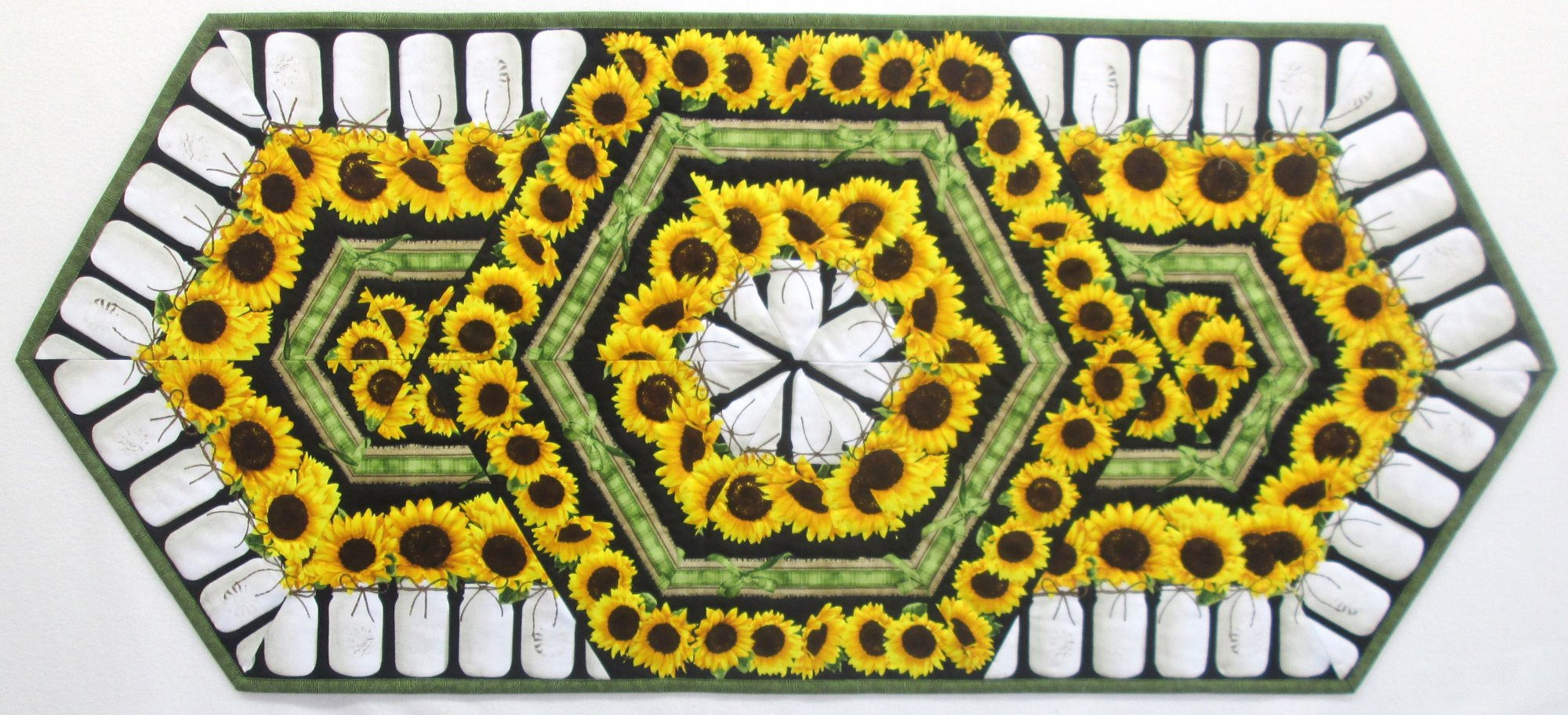 Sunflower Triangle Frenzy Table Runner Sample 20 x 46
