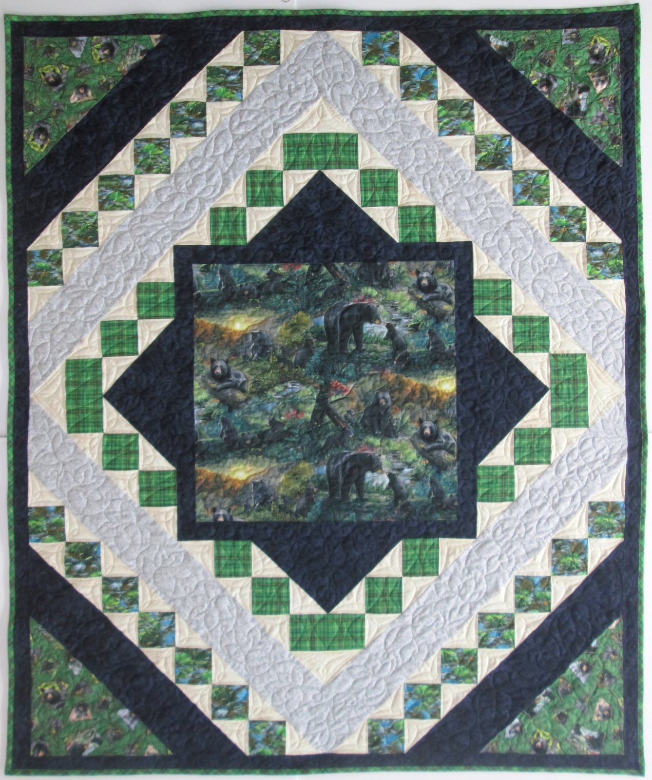 Nature's Bears Quilt Sample 51 by 63