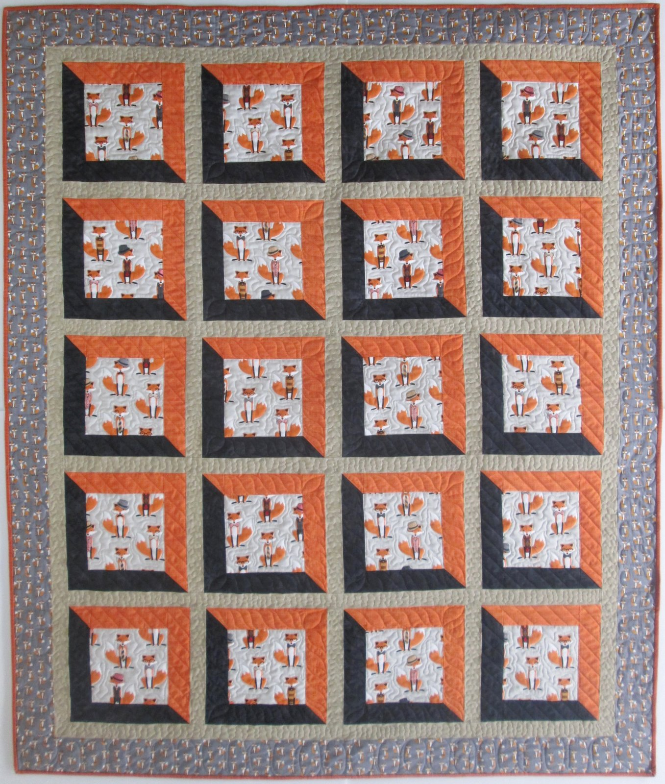 Fox & the Houndstooth Viewed Quilt Kit 57 x 68