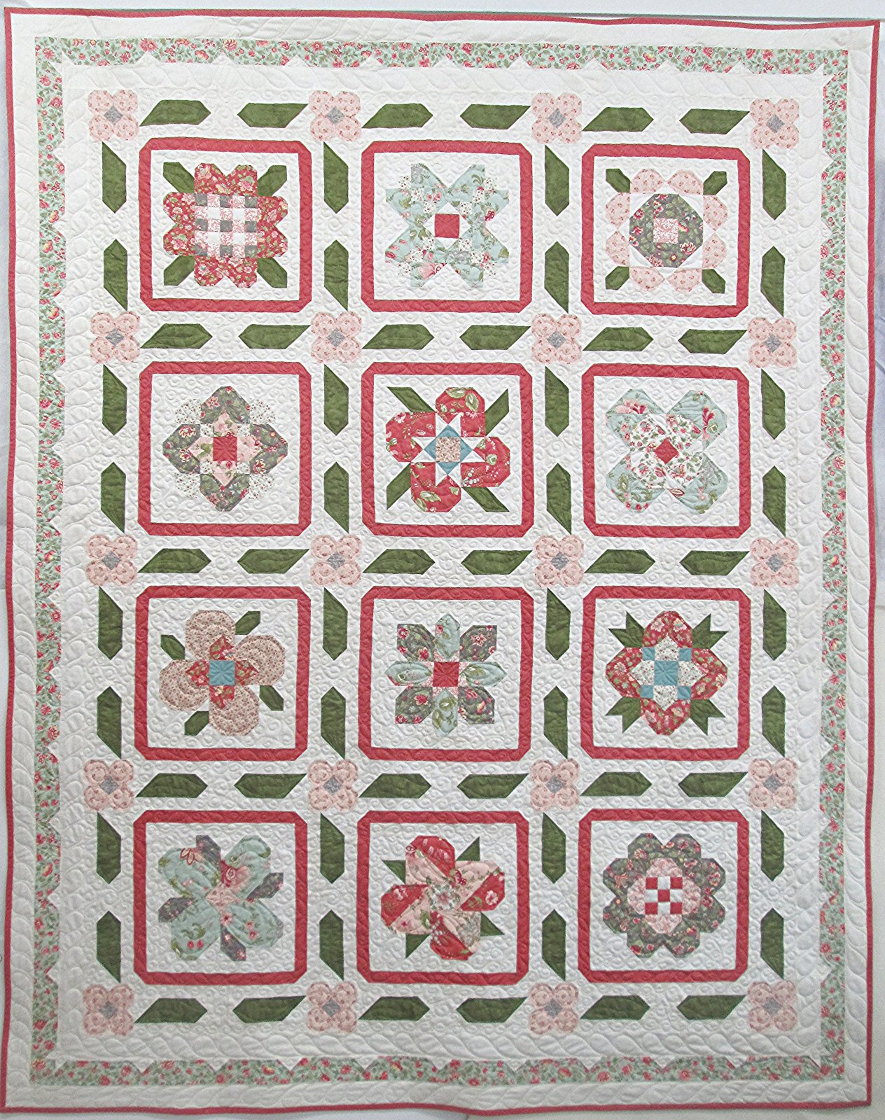 Porcelain Garden Sampler Quilt Sample 70.5 x 88