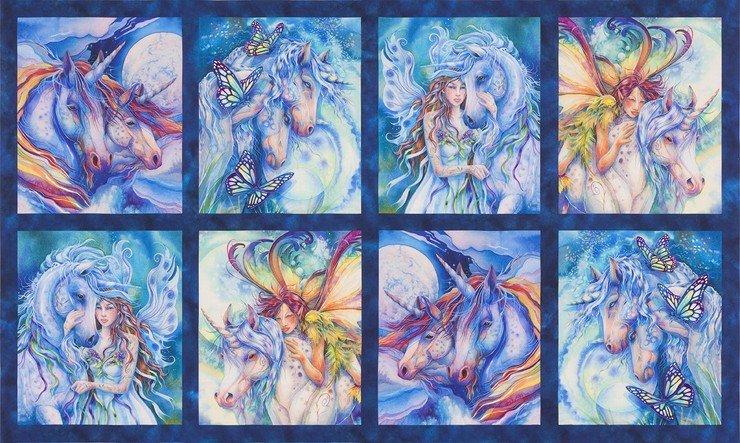 Robert Kaufman 18646-286  Morningmoon Unicorn Fairies Panel