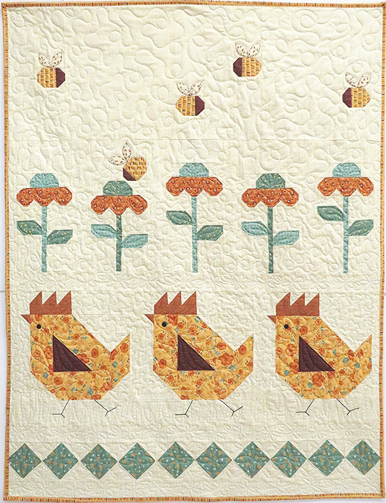 Last Bloom Free Range Quilt Sample 40 x 52