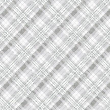 Robert Kaufman Winter's Grandeur 9 20081-254 Frost Silver  Metallic Plaid