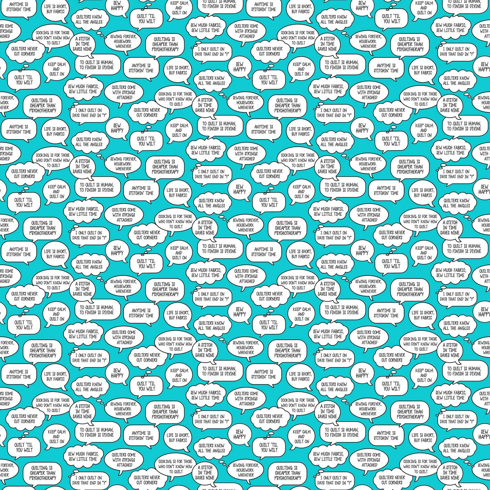 Northcott Mrs.Bobbins 21991-64 Turquois Sayings in Bubbles