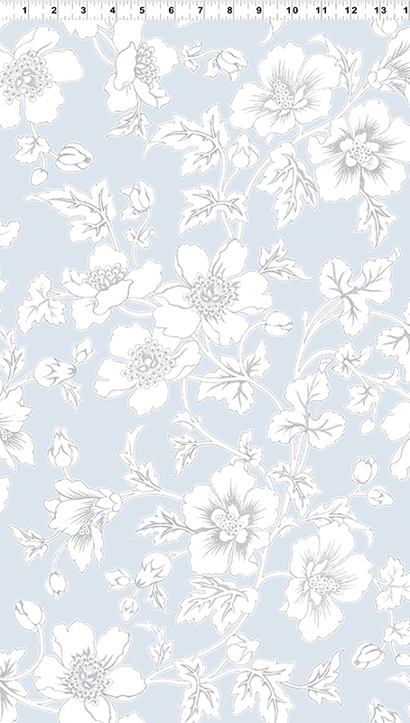 Clothworks Lilliana Y2218-103 Light Teal with Large White Flowers