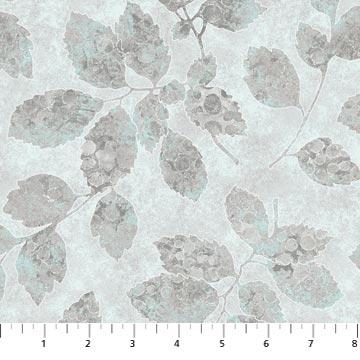 Northcott Artisan Spirit Shimmer Luminous 22468M-92 grey leaves