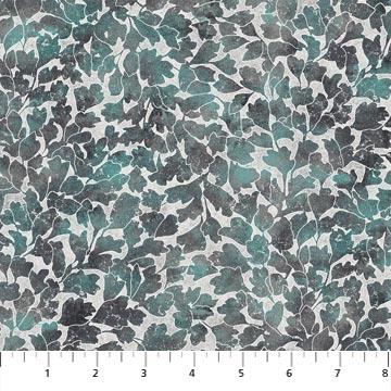 Northcott Artisan Spirit Shimmer Luminous 22469M-94 Grey packed leaf stems