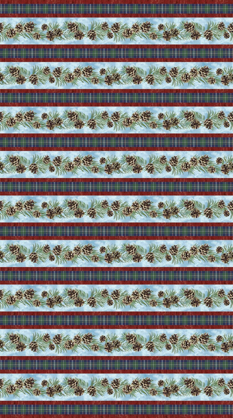 Northcott Christmas Wish 23464-44 Pine Cone & Plaid Stripe