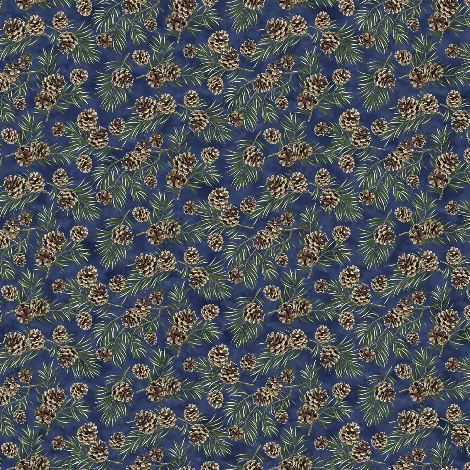 Northcott Christmas Wish 23465-44 Navy Pine Cone