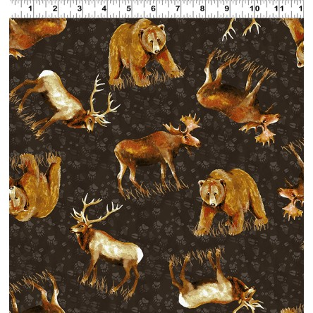Clothworks Open Sky Y2451-16 Dark Brown Bear, Moose & Elk