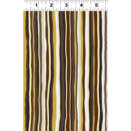 Clothworks Open Sky Y2453-15 Brown & cream stripe