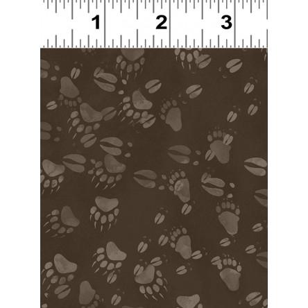 Clothworks Open Sky Y2455-16 Dark Brown Animal Tracks