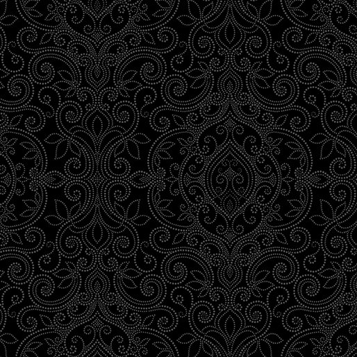 Benartex Accent on Pansies 2569-12 Black Damask
