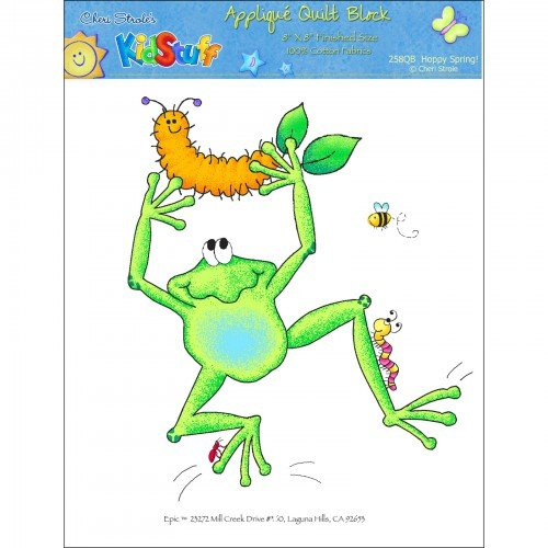 Kidstuff Embroidered Quilt Block Spring Fling Frog & Grub