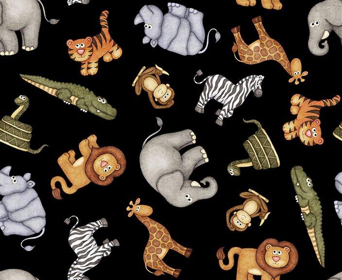 Quilting Treasures Jungle Buddies 26412 J Black  tossed animals