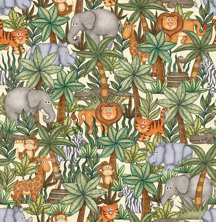 Quilting Treasures Jungle Buddies 26413 E Cream packed trees & animals
