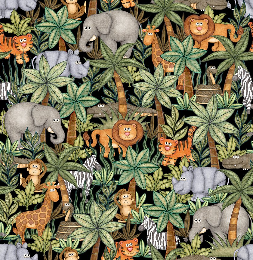 Quilting Treasures Jungle Buddies 26413 J Black packed trees & animals