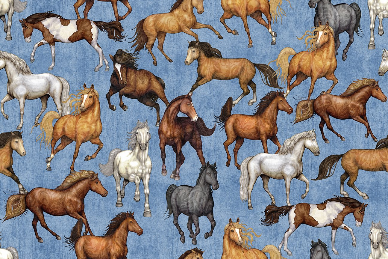 Quilting Treasures Mustang Sunset 26482-B Blue with Horses