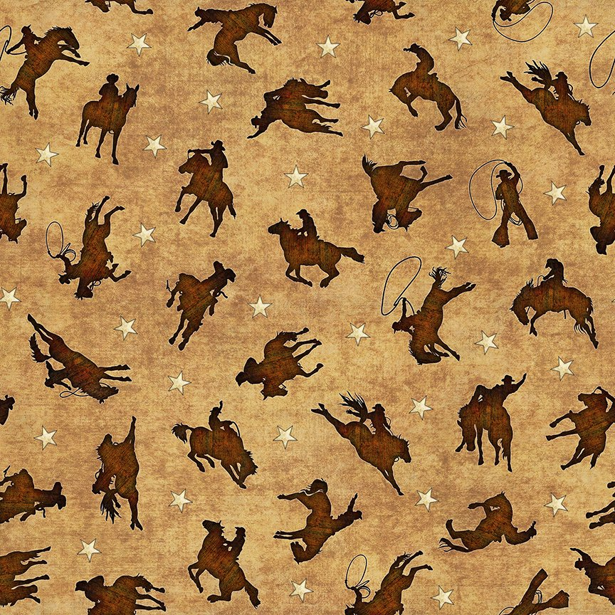 Quilting Treasures Mustang Sunset 26486-A Tossed Rodeo