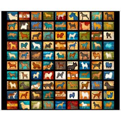 Quilting Treasures MUST LOVE DOGS 26935-J DOG PATCH BLACK Panel
