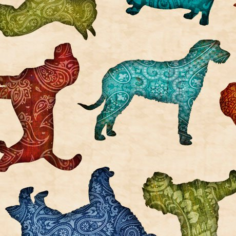 Quilting Treasures MUST LOVE DOGS 26937-E DOG TOSS OATMEAL